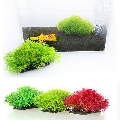 Artificial Fake Water Aquatic Green Grass Plant Lawn Decor Aquarium Fish Tank HR • 3.58£