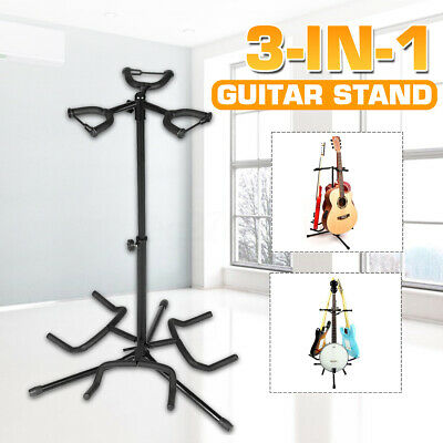 $ CDN67.65 • Buy 3 In1 STAND Rack Holder Electric Acoustic GUITAR Bass Triple Padding Organizer