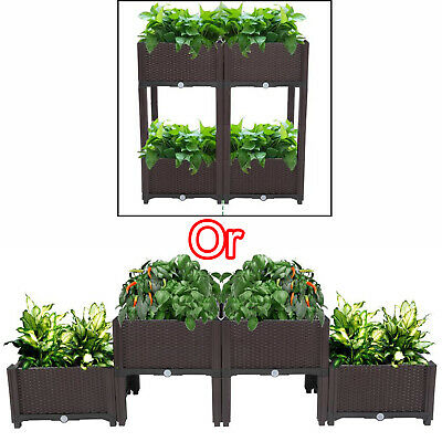 4PC Rectangle Raised Elevated Garden Flower Bed Plant Box Vegetable Planter Herb • 76.44£
