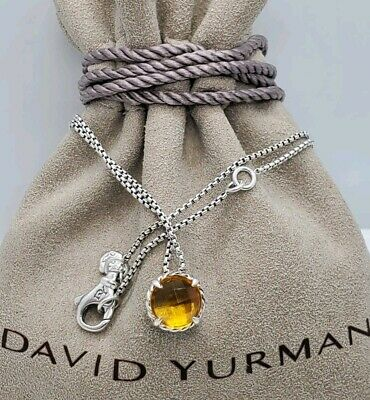 $140 • Buy David Yurman Sterling Silver Chatelaine Pendant Necklace With Citrine Stone