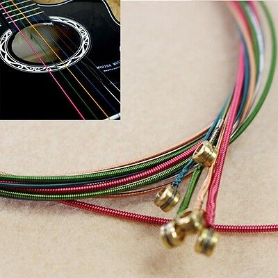 $ CDN1.45 • Buy 6pcs Fashion Rainbow Colorful Color Strings Set Tunes Stable For Acoustic Guitar