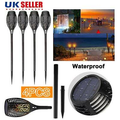4x Solar Garden Flame Light Flickering LED Torch Lamp Waterproof Landscape Uk • 11.79£