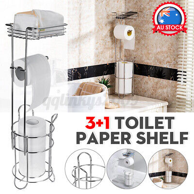 AU26.59 • Buy 3+1 Toilet Paper Shelf Iron Bathroom Floor Type Standing Tissue Roll Storage□
