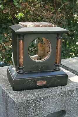 Antique French Marble And Black Slate Clock Case • 22£
