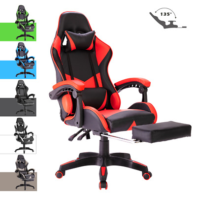 AU129.90 • Buy Computer Gaming Chair Executive Office Chairs Recliner PU Seat W/ Footrest Racer
