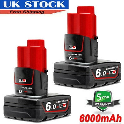 2X For Milwaukee M12 LITHIUM ION XC 6.0 High Capacity Battery 12 V 48-11-2402 • 33.99£