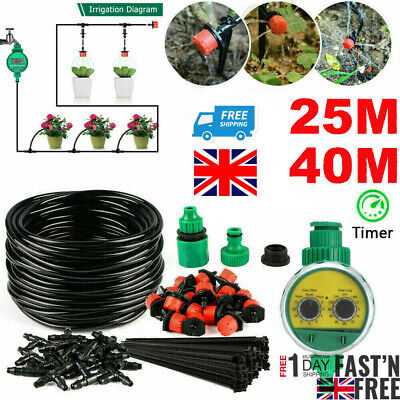 Micro Drip Irrigation Watering Automatic Garden Plant Greenhouse System Set Kit • 16.79£