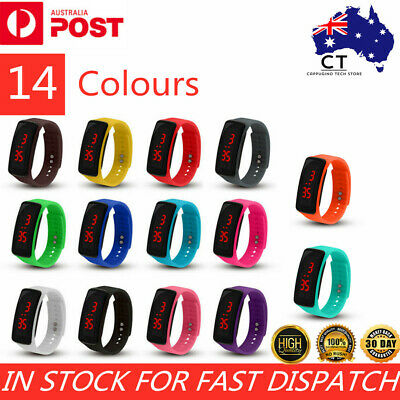 AU5.89 • Buy Kids Women Men Digital LED Fitness Sport Wrist Watch Gifts Silicone Bracelet Oz