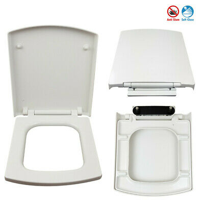 £22.69 • Buy White Square Bathroom Toilet Seat With Rapid Easy Top Fixing Slow Close Hinges