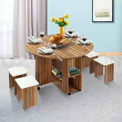 AU185.95 • Buy Dining Table And 4 Chairs Set Wooden Folding Round Kitchen Table With Wheels Oak