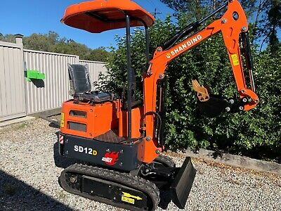 AU13990 • Buy 2020 SD12D Diesel MINI Excavator With 7 Heavy Duty Attachments NOT 9 TOYS