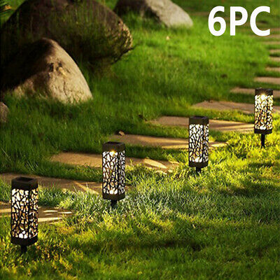 6pcs Solar Powered Garden Post Lights Waterproof LED Outdoor Patio Yard Lawn UK • 9.98£