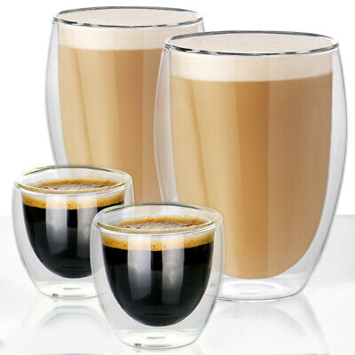 Set Of 2 Double Walled Insulated Glasses Coffee Tea Glass Mugs Thermal Espressos • 10.28£