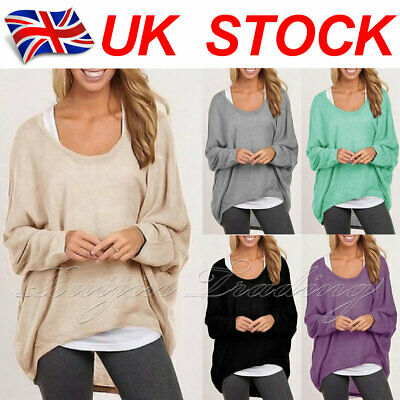 UK Womens Long Sleeve Pullover T-shirt Ladies Loose Casual Tops Jumper Plus Size • 8.35£