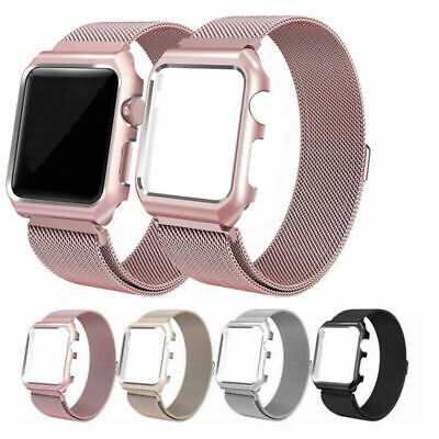 AU18.99 • Buy For Apple Watch Series 5 4 3 2 Magnetic Milanese Band Strap With Bumper Case