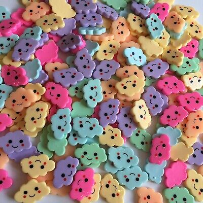 10 Clouds Resin Kawaii Flatback Cabochons Embellishment Decoden Bow Card Craft • 2.95£