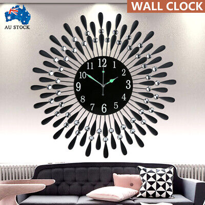 AU52.99 • Buy Large Modern 3D Crystal Wall Clock Luxury Black Glass Round Dial Home Office