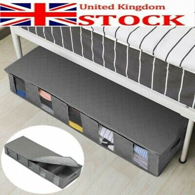 Large Capacity Under Bed Storage Bag Box 5 Compartments Clothes Shoes Organizer • 7.98£
