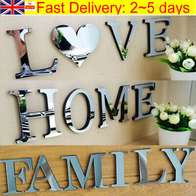 4 Letters Love Home Furniture Mirror Tiles Wall Sticker Self-Adhesive Art Decor • 3.75£