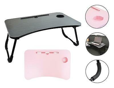 Laptop Table Lap Tray Bed Work Home Foldable Cup Holder Tablet Stand Pink Black • 17.99£