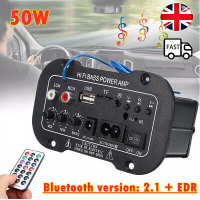 220V Car Bluetooth 2.1 Hi-Fi Bass Power AMP Car Mini Digital Amplifier Audio UK • 11.19£