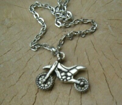 Mens Boys Jewellery Scrambler Dirt Bike Motorbike Racer Charm Necklace Biker  • 2.99£