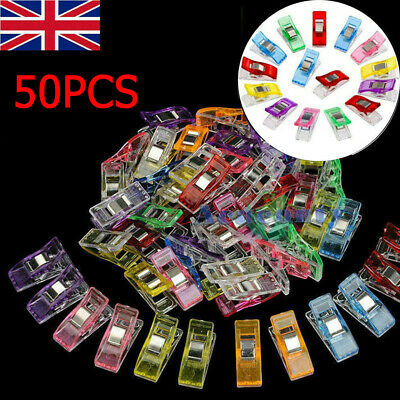 50Packs Wonder Clips For Quilting Fabric Craft Knitting Sewing Crochet UK STOCK • 3.23£