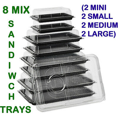 8 Plastic Sandwich Trays Platters With Lids Food Service Party Catering Buffet  • 16.99£