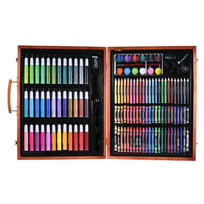 148pcs Art Set Wooden Case Markers Pencils Crayons Oil Pastels Watercolor P9Y8 • 21.10£