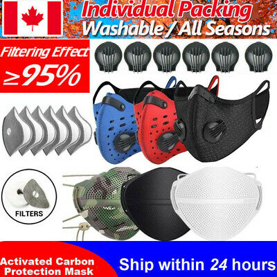 $ CDN10.40 • Buy Reusable Cycling Mask Respirator Valve Activated Carbon Filters Mouth-muffle