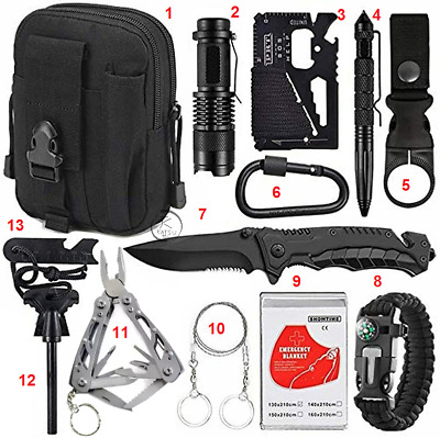 AU37.90 • Buy 13 Emergency Survival Kit Equipment Outdoor Tactical Hiking Camping Sports Tool