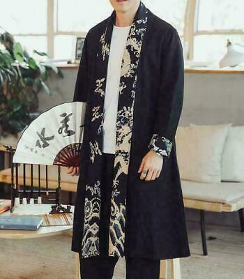 $41.52 • Buy Chinese Kung Fu Long Jackets Cardig Men Trench Coat Cotton Linen Outwear Clothes