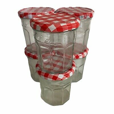 6 Empty Clear Glass Bonne Maman Jam Jars With Red & White Lids Craft Wedding • 10.50£
