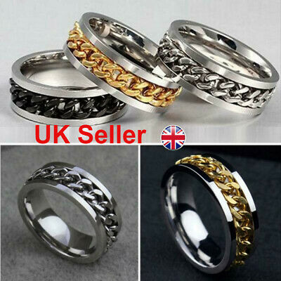Mens Womens Titanium Stainless Steel Band Ring Spinning Curb Chain UK  • 3.14£
