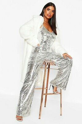 Silver Sequin Jumpsuit With A Low Back, Wide Leg Boohoo Size 14 BNWT • 25£