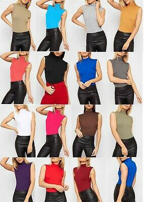 £5.99 • Buy Ladies Sleeveless  Polo Neck Womens Stretchy Turtle Neck Vest Top High Neck 8-26