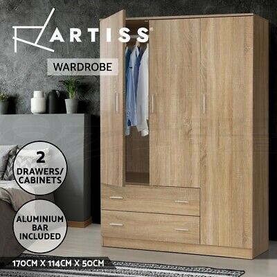 AU309.90 • Buy Artiss Wardrobe Bedroom Clothes Closet 3 Doors Storage Cabinet Organiser Armoire