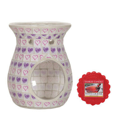 Lilac Love Heart Tea Light Wax Melt Burner Warmer + Yankee Candle Wax Melt • 11.99£