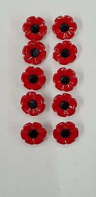 Poppy Style Flower Novelty Childrens Craft Shanks Buttons Pack Of 10 (18mm) • 1.30£