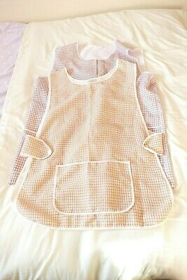 Top Quality 2 X Ladies Dogtooth Pattern Home/Work Tabard/Apron Size 20- Used VGC • 10£
