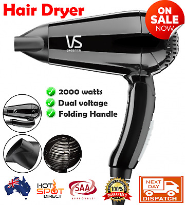 AU33.20 • Buy VS Sassoon Travel Hairdryer Compact Foldable Blow Dryer Styler Adjustable Heat