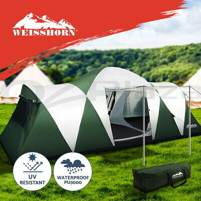 AU219.95 • Buy Weisshorn Family Camping Tent 12 Person Hiking Beach Tents (3 Rooms) Green