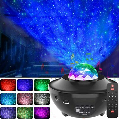 LED Galaxy Projector Star Night Lamp Starry Sky Night Light Ocean Wave W/ Music • 21.78£