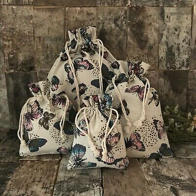 £2.99 • Buy Linen Drawstring Bag/ Gift Bag With Butterfly Print