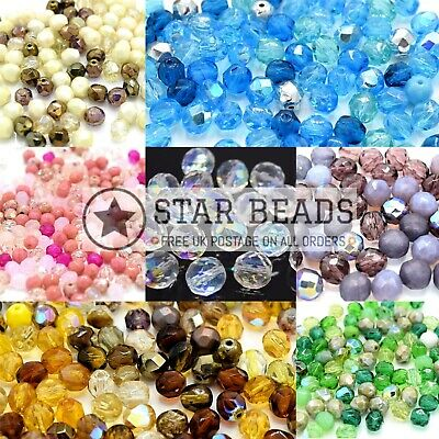 £2.50 • Buy Czech Fire Polished Faceted Glass Mix Round Beads - Pick Colour & Size