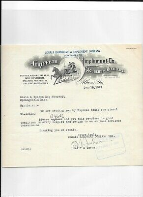 AU27.69 • Buy Illustrated Letterhead GRIFFITH IMPLEMENTS Buggies Wagons Tractor Athens GA 1927