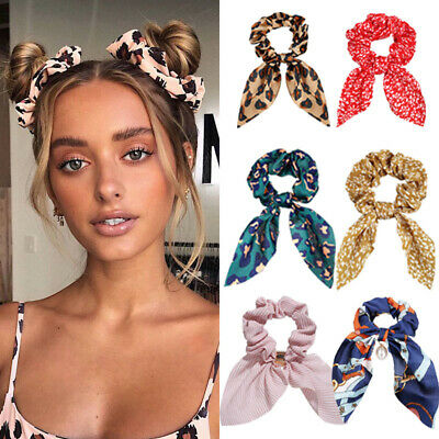 $1.75 • Buy Solid Floral Bow Scrunchie Hair Band Elastic Hair Ties Rope Scarf Accessories