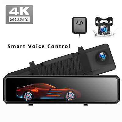 AU202.05 • Buy 4K Mirror Dash Cam GPS Backup Camera For Cars Voice Control Tracking Waterproof