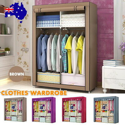 AU27.99 • Buy Large Portable Clothes Closet Canvas Wardrobe Storage Organizer Shelves Cabinet