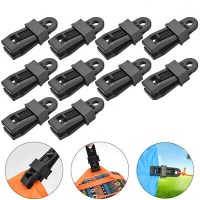 10Pcs Reusable Windproof Clip Awning Clamp Tarp Clips Snap Hanger Tent Camping B • 4.59£